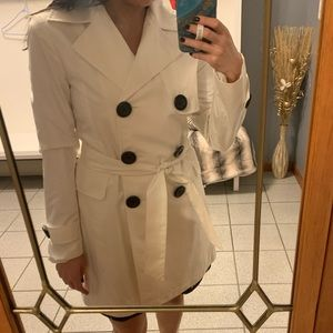 White belted & button down trench coat